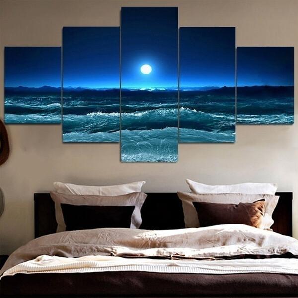 Ocean Bright Moon - 5 Panel Canvas Print Wall Art Set