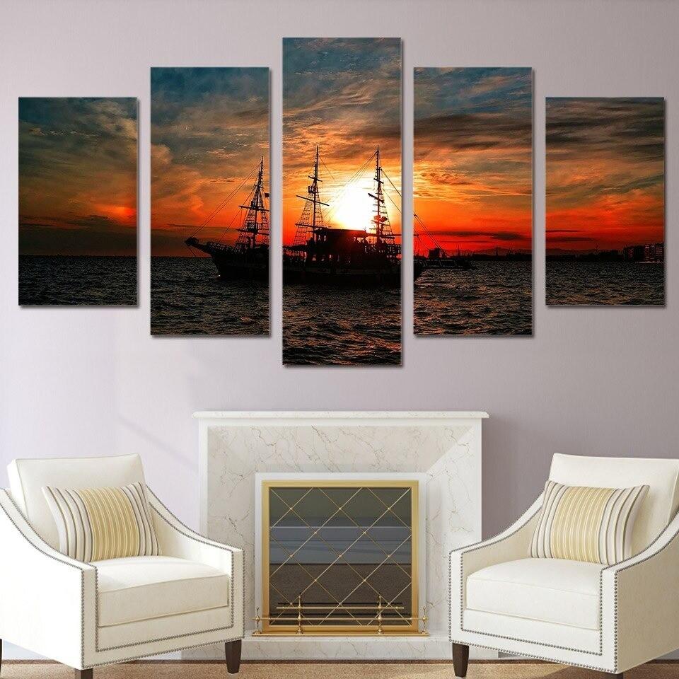 Seascape Ocean Boat Sunset Clouds - 5 Panel Canvas Print Wall Art Set