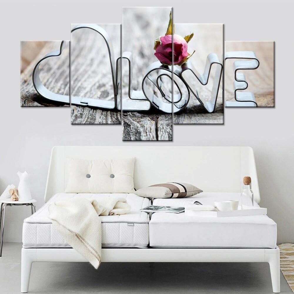 Love Words - 5 Panel Canvas Print Wall Art Set