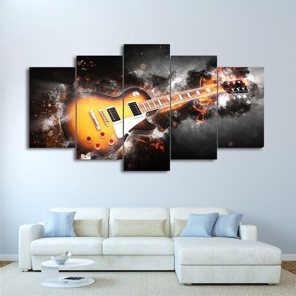 Guitar - 5 Panel Canvas Print Wall Art Set