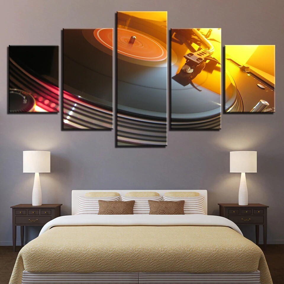 Music DJ Console Turntables - 5 Panel Canvas Print Wall Art Set