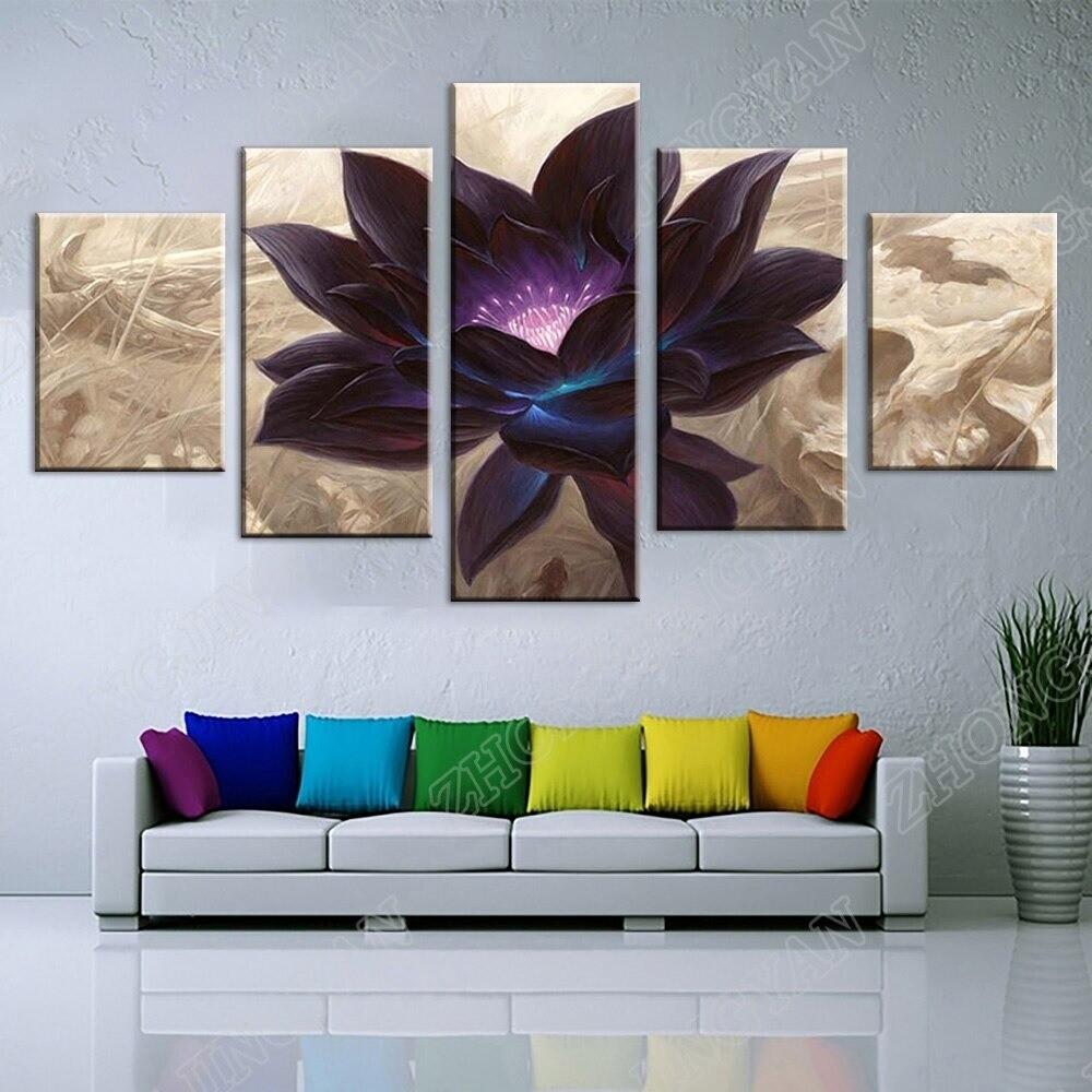 Black Lotus - 5 Panel Canvas Print Wall Art Set