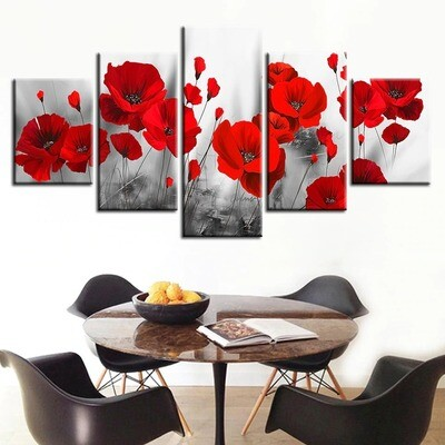 Romantic Poppies Paintings Red Flowers - 5 Panel Canvas Print Wall Art Set