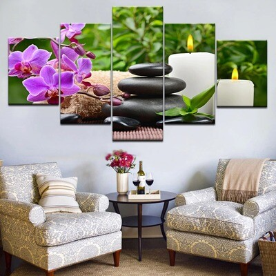 Stones Bamboo Orchid Flowers - 5 Panel Canvas Print Wall Art Set