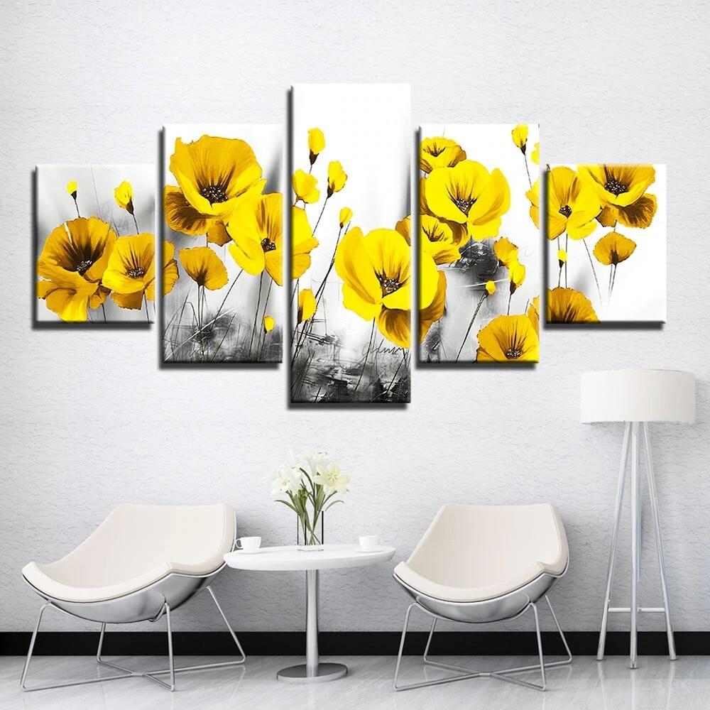 Yellow Poppy Flower - 5 Panel Canvas Print Wall Art Set