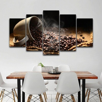 Fragrant Coffee Beans - 5 Panel Canvas Print Wall Art Set