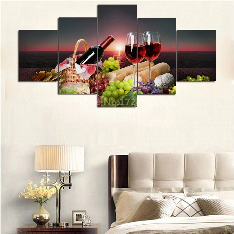 Red Wine Grape - 5 Panel Canvas Print Wall Art Set