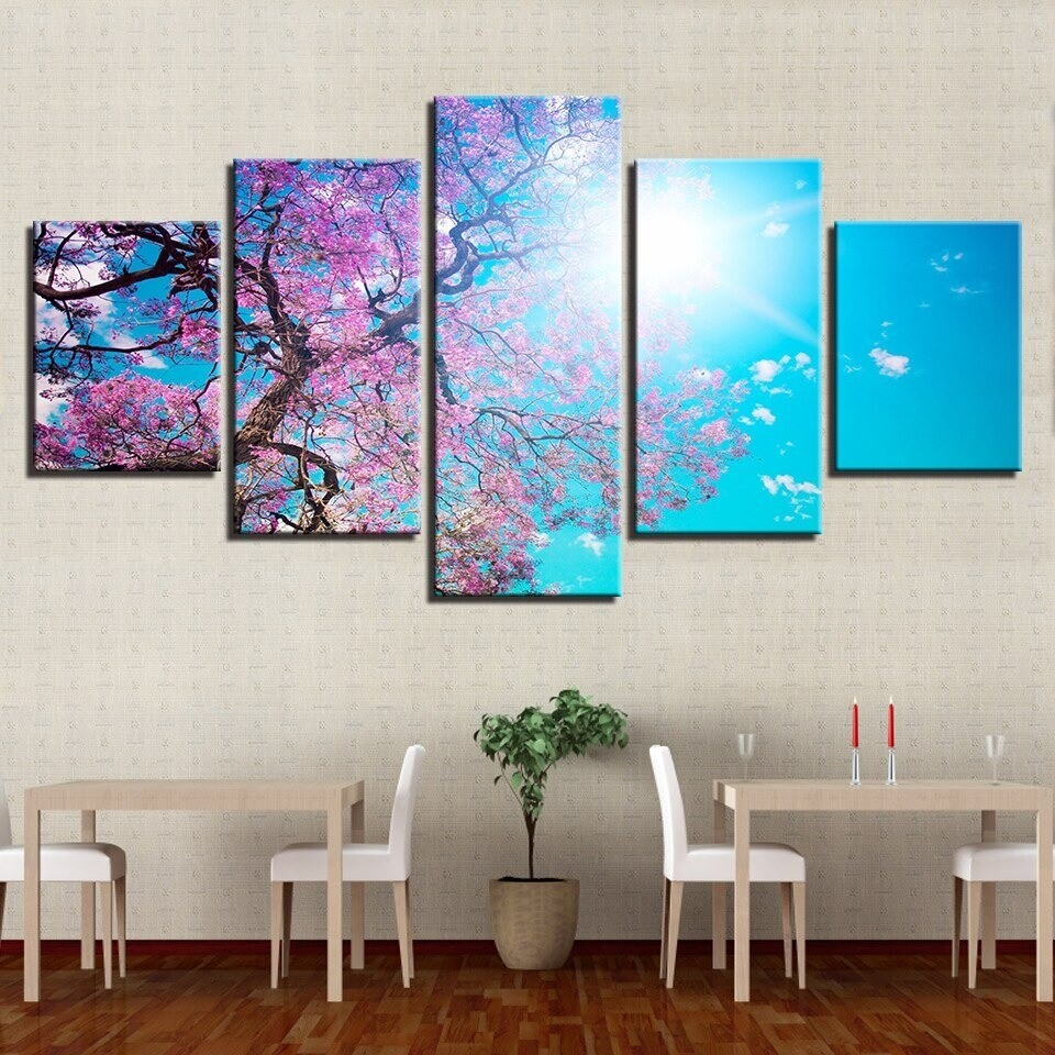 Pink Cherry Blossom Tree Landscape - 5 Panel Canvas Print Wall Art Set