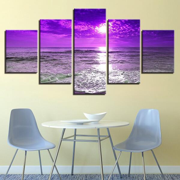 Purple Sunset Sea Waves - 5 Panel Canvas Print Wall Art Set