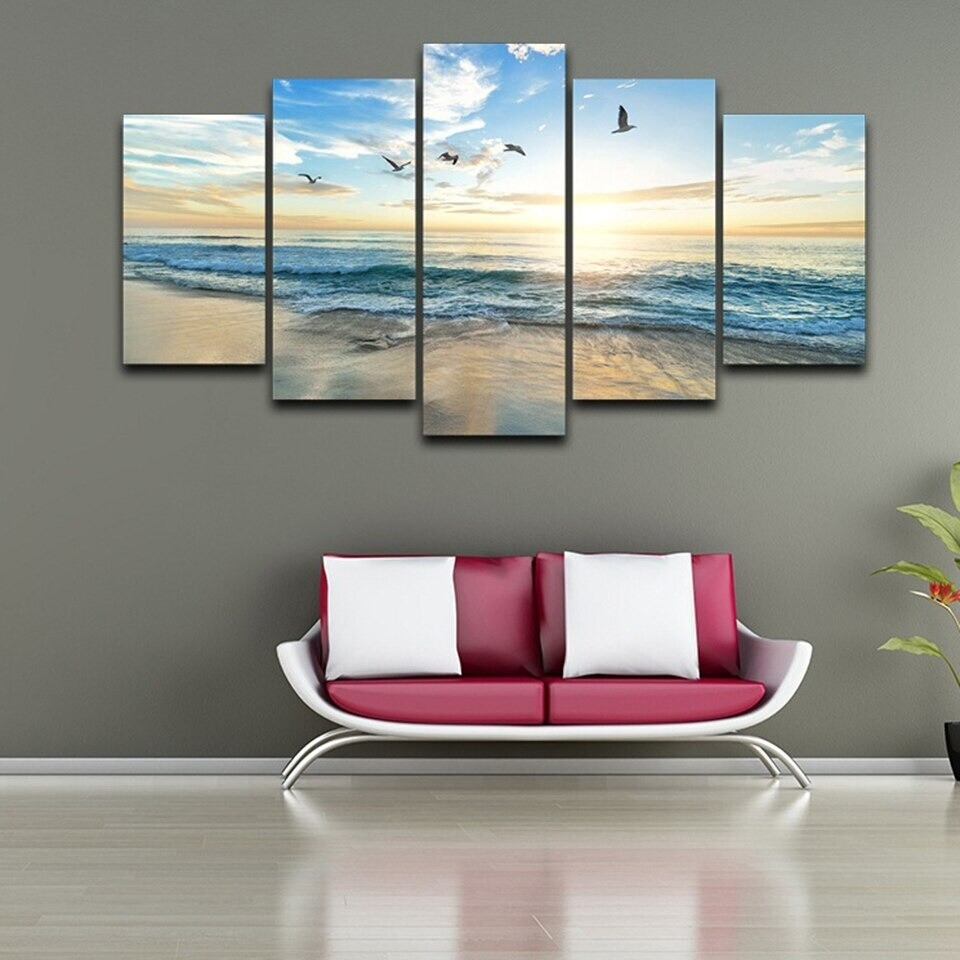 Sea Wave Beach Seagull Birds - 5 Panel Canvas Print Wall Art Set