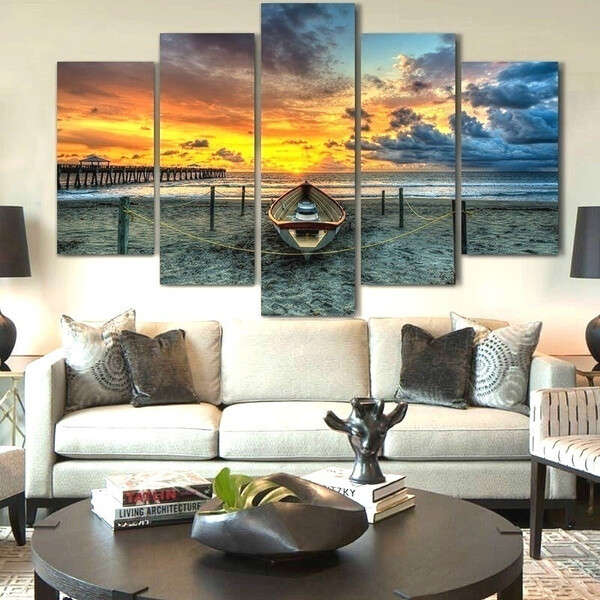 Sunset Beach - 5 Panel Canvas Print Wall Art Set
