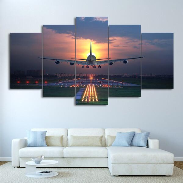 Sunset Lights Airplane Lawn - 5 Panel Canvas Print Wall Art Set