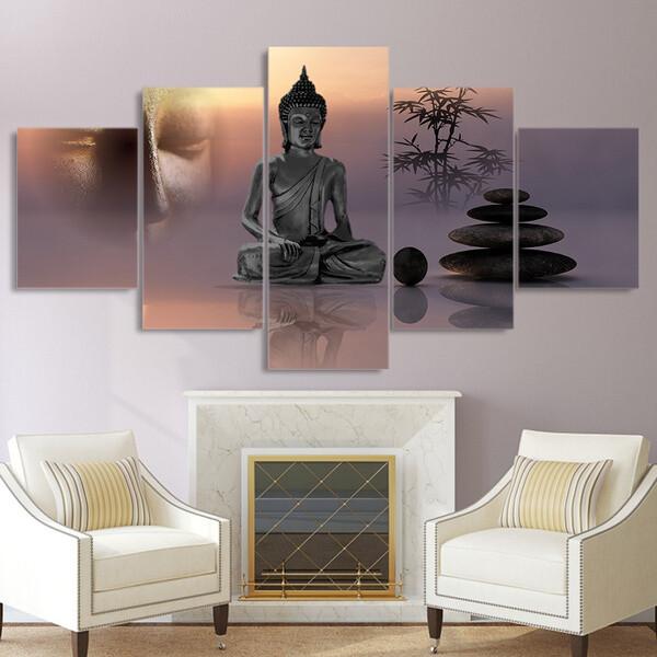 Zen Buddha Statue - 5 Panel Canvas Print Wall Art Set