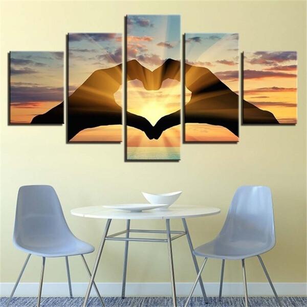 Couple Love Group - 5 Panel Canvas Print Wall Art Set