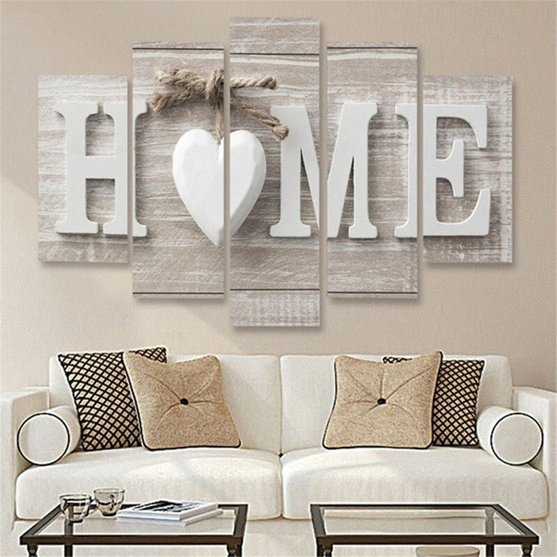 Letter Love Home - 5 Panel Canvas Print Wall Art Set