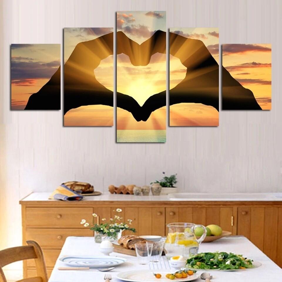 Sunset Hand Love Landscape Seascape - 5 Panel Canvas Print Wall Art Set