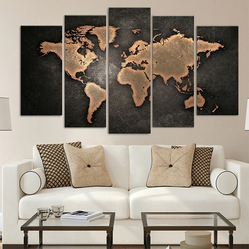 Retro World Map - 5 Panel Canvas Print Wall Art Set