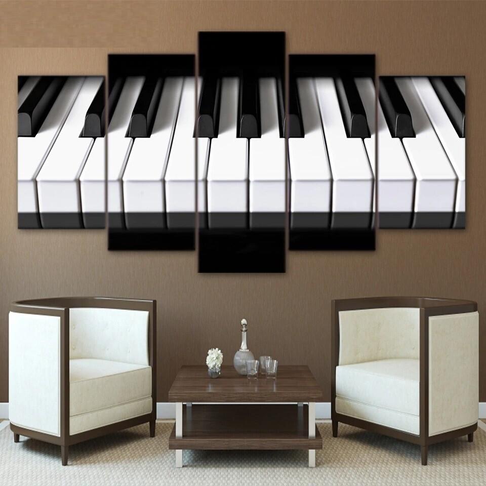 Piano Keys - 5 Panel Canvas Print Wall Art Set