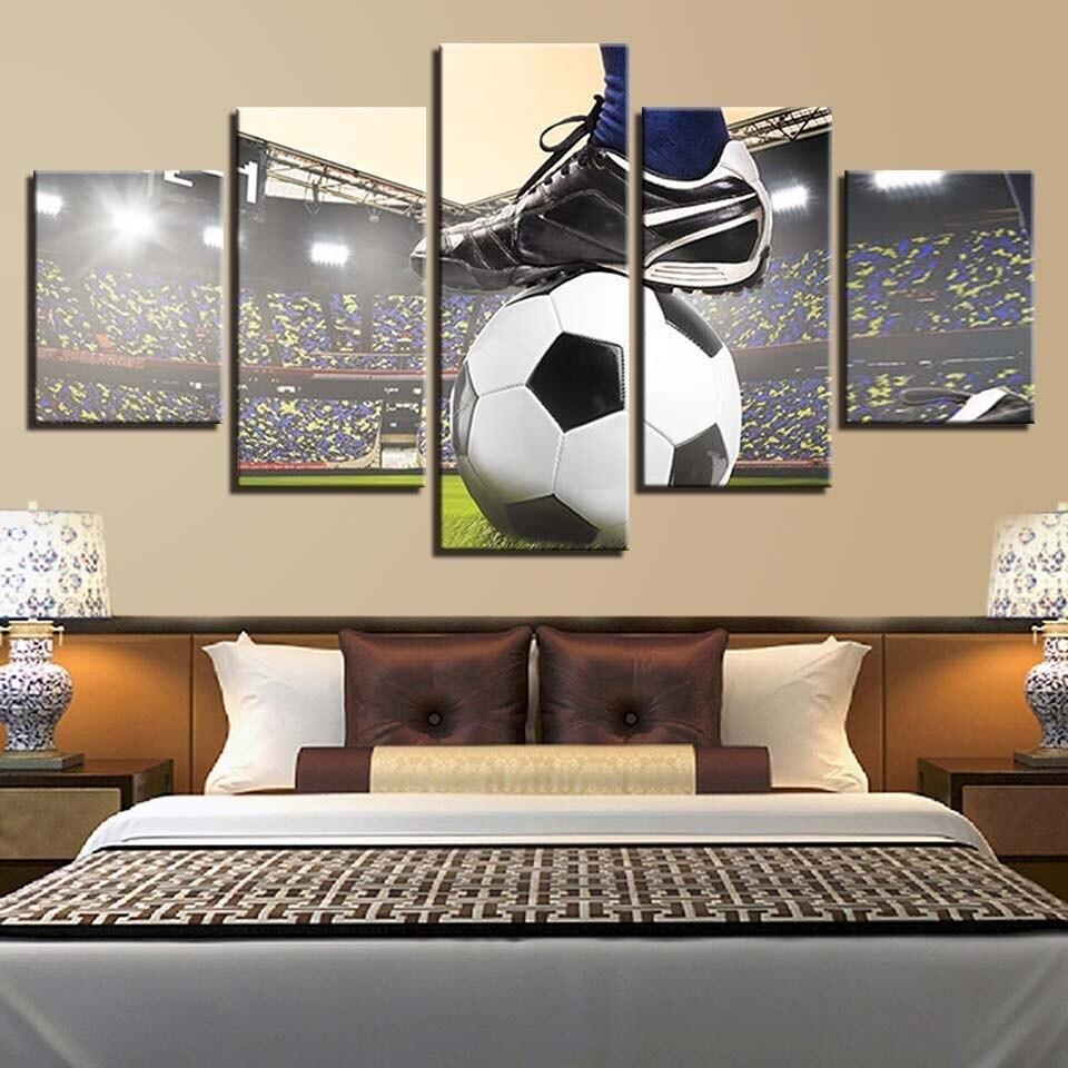 Football Paintings - 5 Panel Canvas Print Wall Art Set