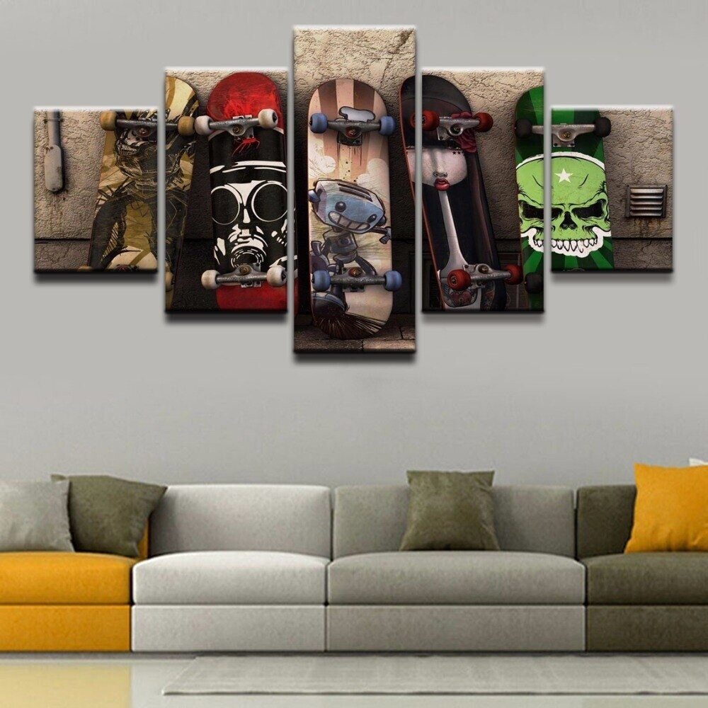Skateboard - 5 Panel Canvas Print Wall Art Set
