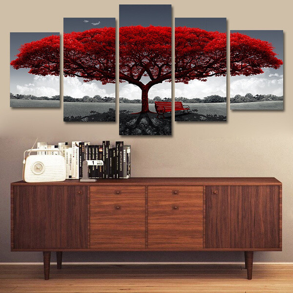 Red Tree - 5 Panel Canvas Print Wall Art Set