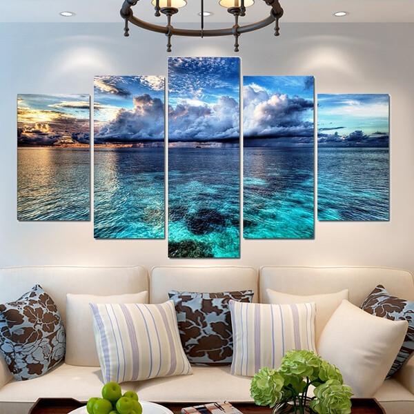 Sky and Sea Landscape - 5 Panel Canvas Print Wall Art Set