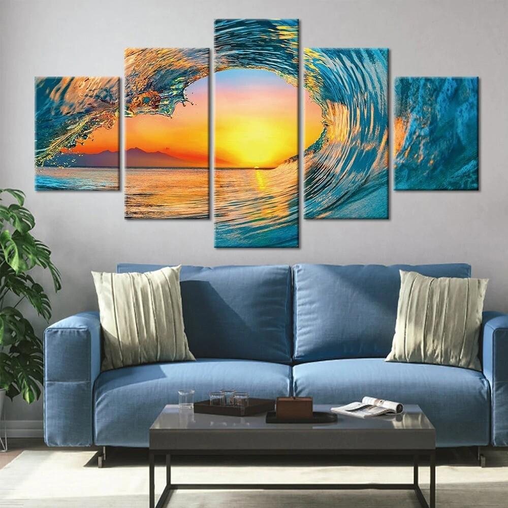 Sunset Waves Seascape - 5 Panel Canvas Print Wall Art Set