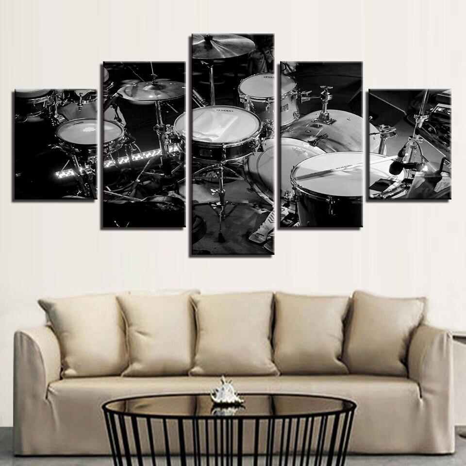 Black White Drums Music - 5 Panel Canvas Print Wall Art Set