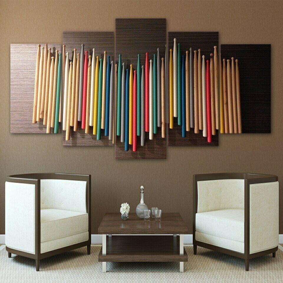 Colorful Music Drum Sticks - 5 Panel Canvas Print Wall Art Set