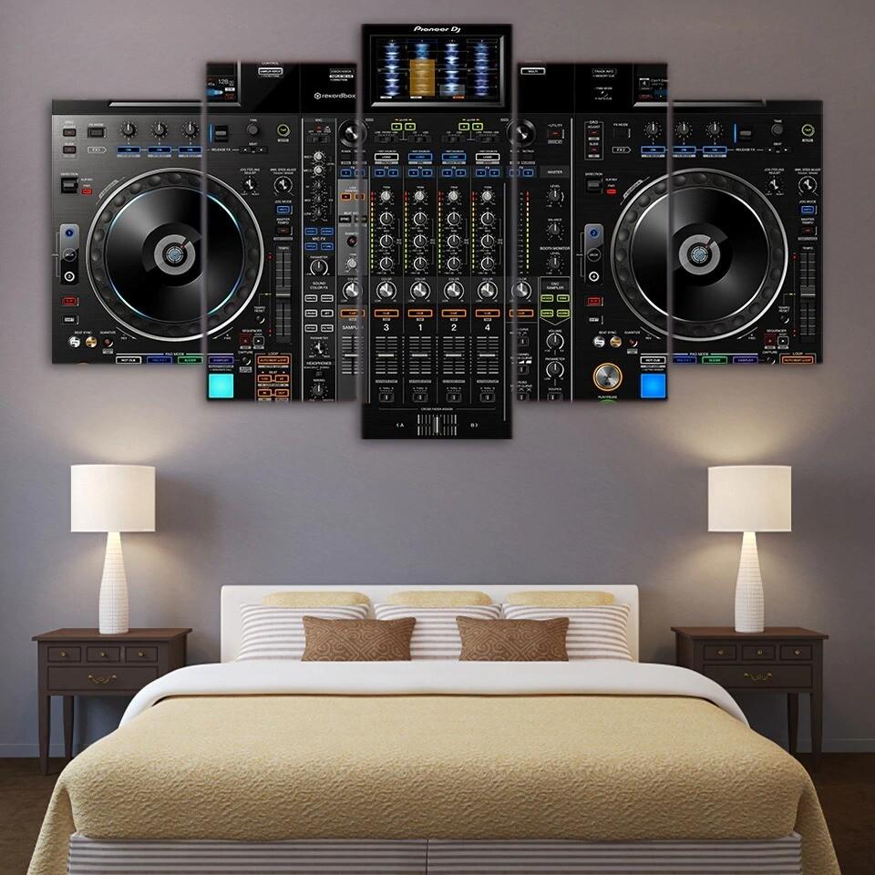DJ Music Player - 5 Panel Canvas Print Wall Art Set