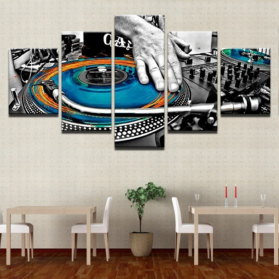 Hand Plate DJ Music Console Instrument Fabric - 5 Panel Canvas Print Wall Art Set