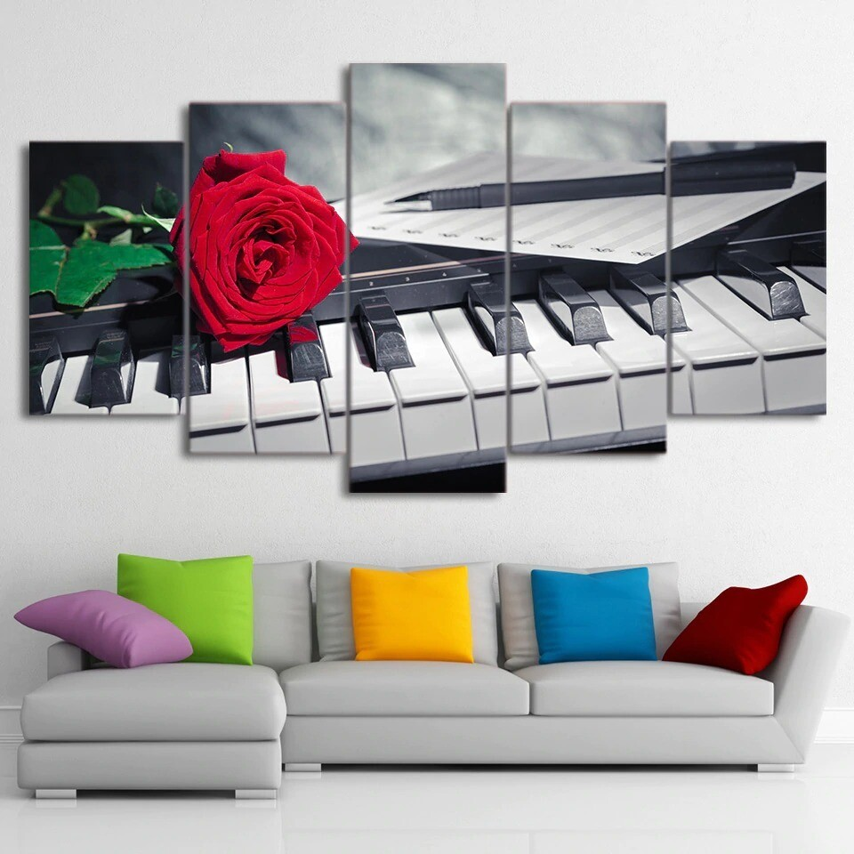 Piano Keys Pictures Rose Music Compose - 5 Panel Canvas Print Wall Art Set