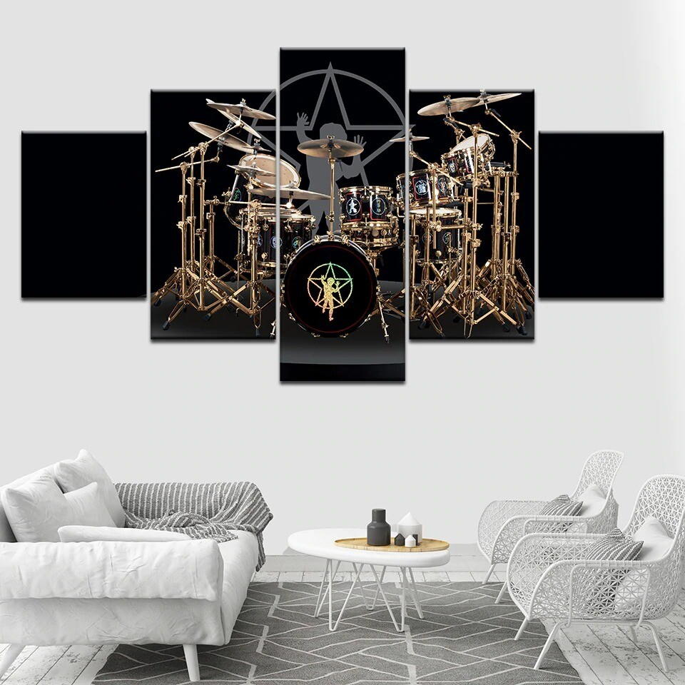 The Drums of Neil Peart Music - 5 Panel Canvas Print Wall Art Set