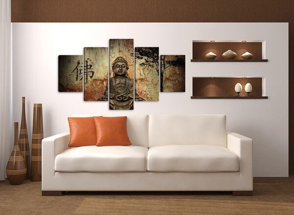 Buddha Landscape - 5 Panel Canvas Print Wall Art Set