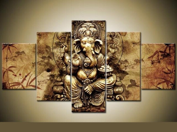 Ganesha Red Maple Tree - 5 Panel Canvas Print Wall Art Set