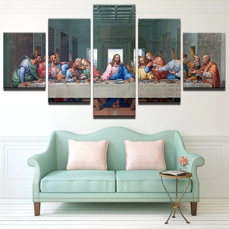 Last Supper - 5 Panel Canvas Print Wall Art Set
