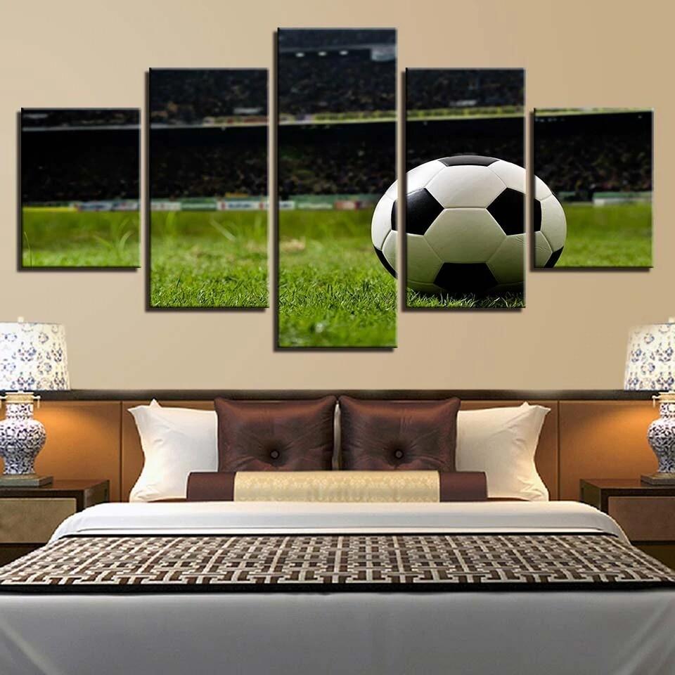 Football - 5 Panel Canvas Print Wall Art Set