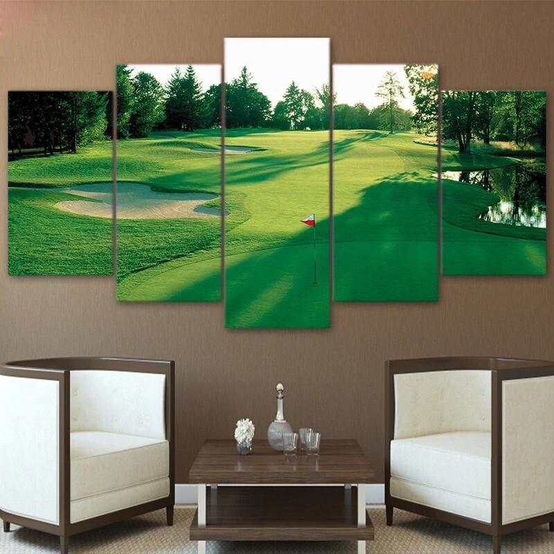 Golf Course Green Land - 5 Panel Canvas Print Wall Art Set