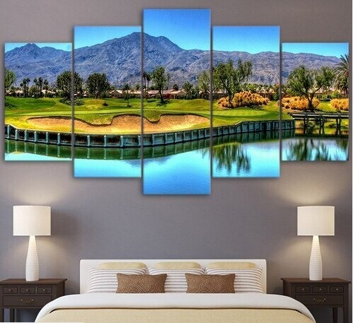 Mountain Golf Course Landscape - 5 Panel Canvas Print Wall Art Set