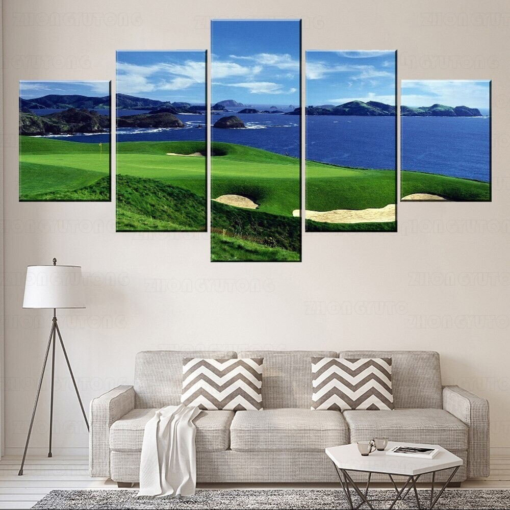 Blue Sky Blue Sea And Golf Lawn Field - 5 Panel Canvas Print Wall Art Set