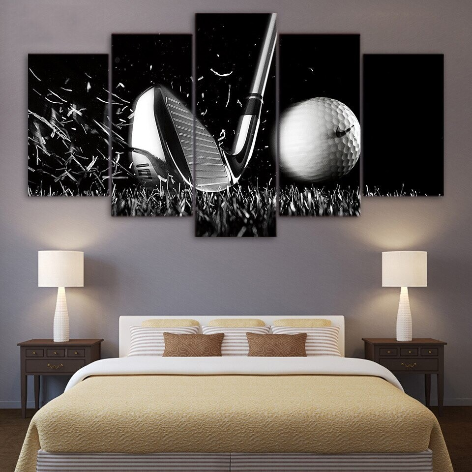 Golf Still Life Black and White - 5 Panel Canvas Print Wall Art Set