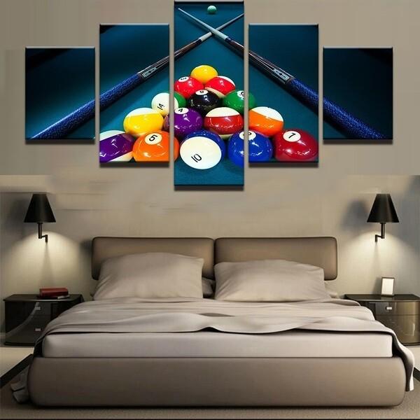 Sports Color Billiards - 5 Panel Canvas Print Wall Art Set