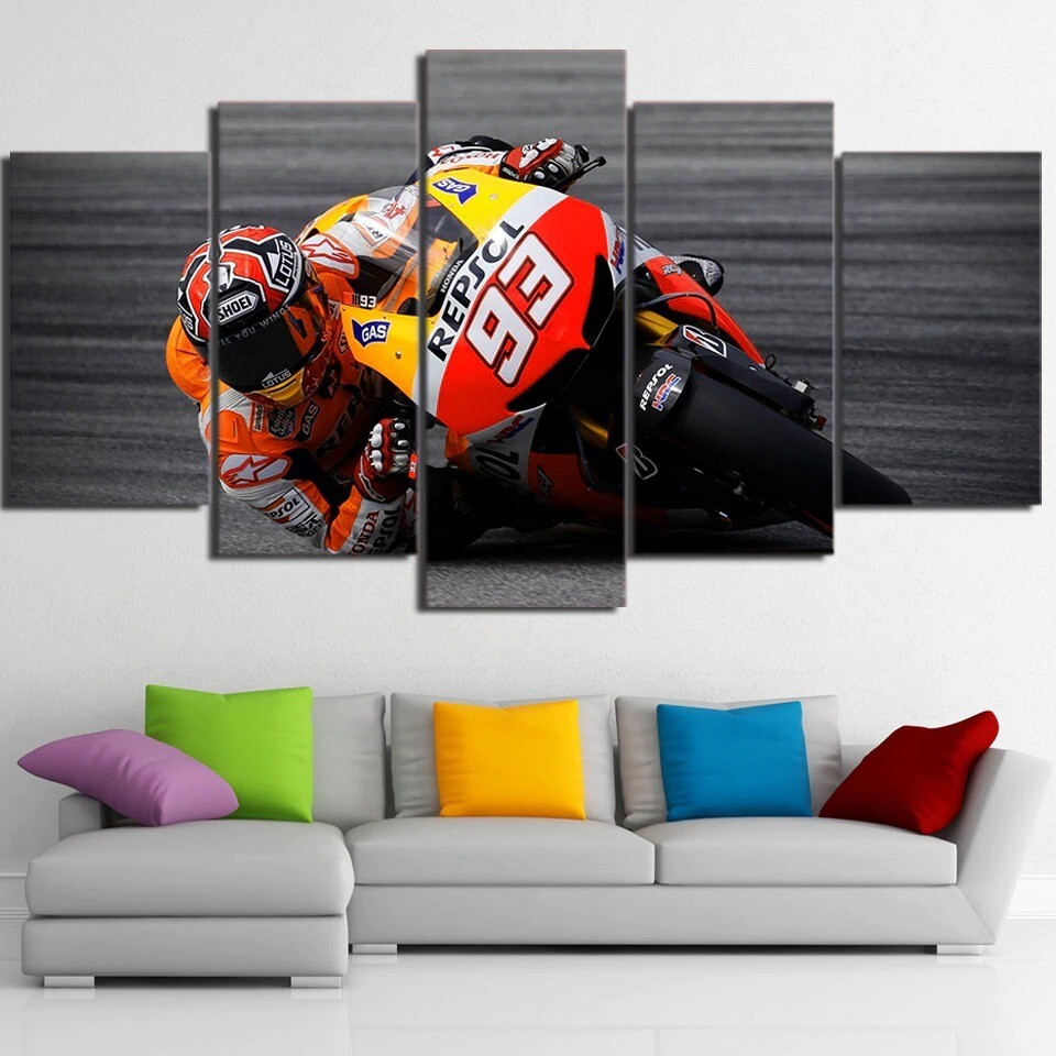 Sports Motorcycle Racing - 5 Panel Canvas Print Wall Art Set