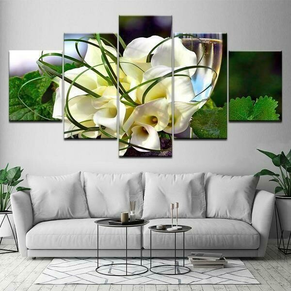 Bouquet Of Calla Lily - 5 Panel Canvas Print Wall Art Set