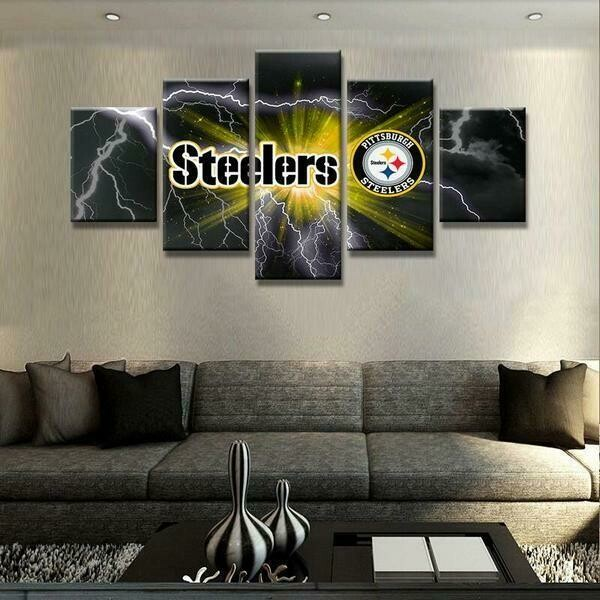 Pittsburgh Steelers Football Sports Club - 5 Panel Canvas Print Wall Art Set