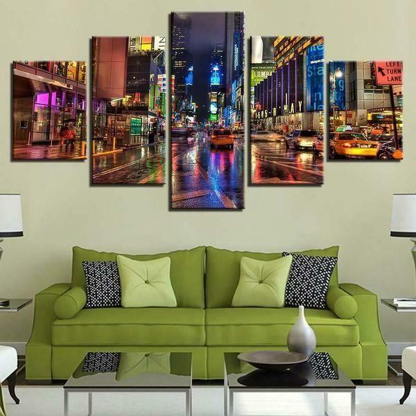 Times Square New York City - 5 Panel Canvas Print Wall Art Set