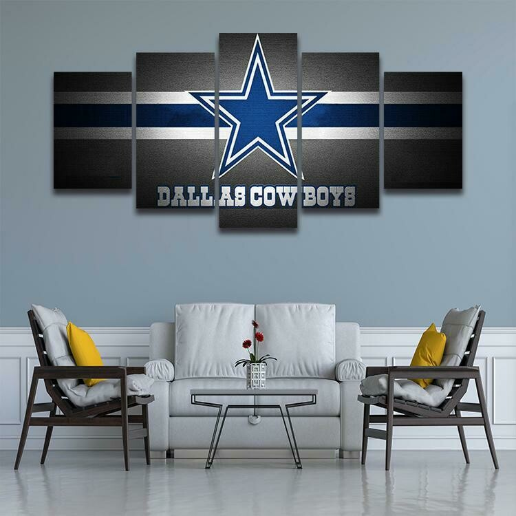 Dallas Cowboys Football Team - 5 Panel Canvas Print Wall Art Set
