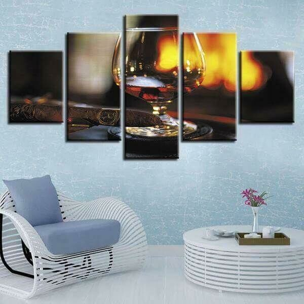Oak Aged Whiskey With Tobacco - 5 Panel Canvas Print Wall Art Set