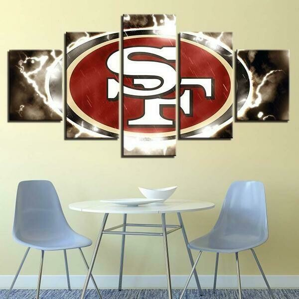 San Francisco 49ers NFL Logo - 5 Panel Canvas Print Wall Art Set