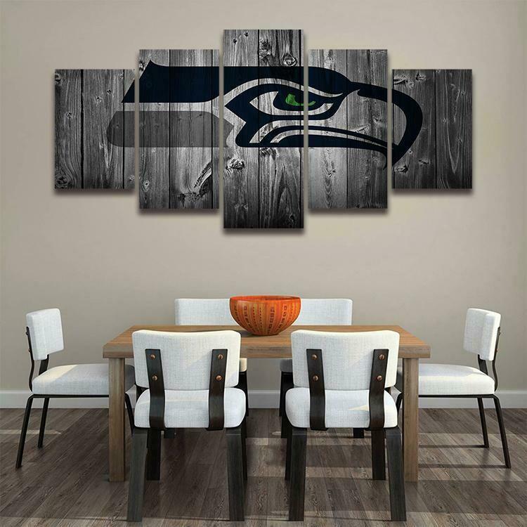 Seattle Seahawks NFL Logo - 5 Panel Canvas Print Wall Art Set